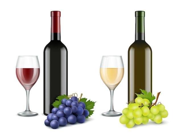 Winogrona i kieliszki do wina. realistyczne zdjęcia wektorowe