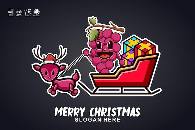 Winogrona kulig wesołych świąt śliczna maskotka projekt logo postaci