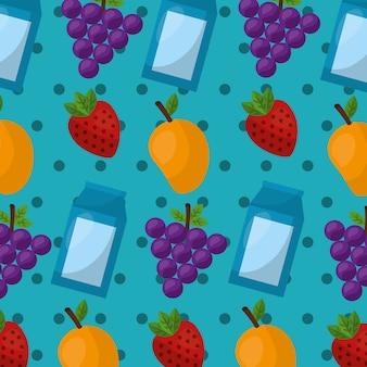 Winogrona mango truskawka zdrowa żywność styl życia tło