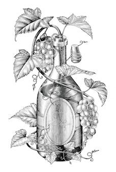 Winogrona twing w butelce wina ilustracji czarno-białe clipart, koncepcja bandowania winogron na wino
