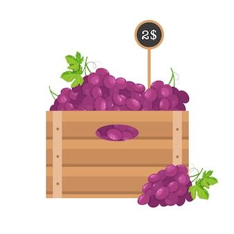 Winogrono w drewnianym ruszcie