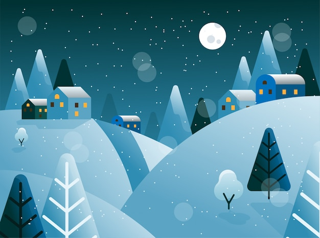 Winter Hill Panorama Night With Moon Light And Trees Vector Premium Wektorów