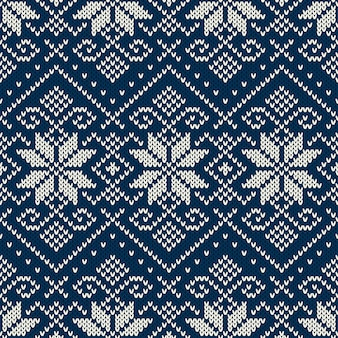 Winter holiday fair isle knitted pattern. boże narodzenie i nowy rok bezszwowe tło