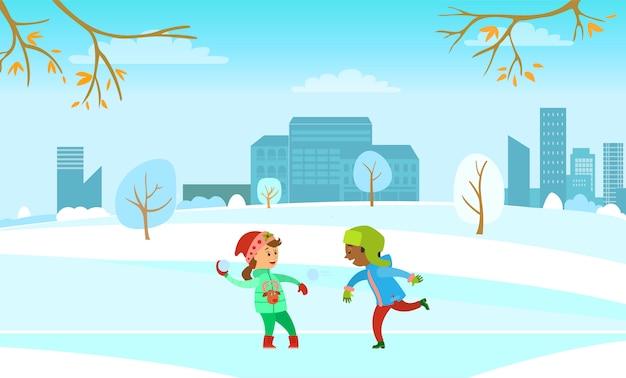 Winter holidays fun, kids playing snowball fight