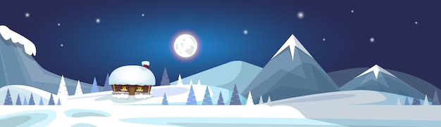 Winter mountain landscape white snow banner