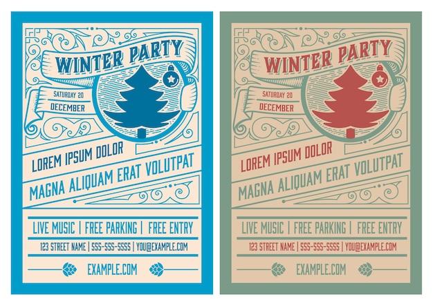 Winter party flyer retro typografia i ozdoba. boże narodzenie zaproszenie na wakacje lub projekt plakatu. .