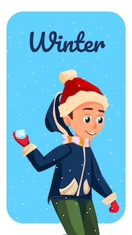 Winter season banner cartoon boy throw snowball