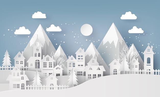 Winter snow urban countryside city village