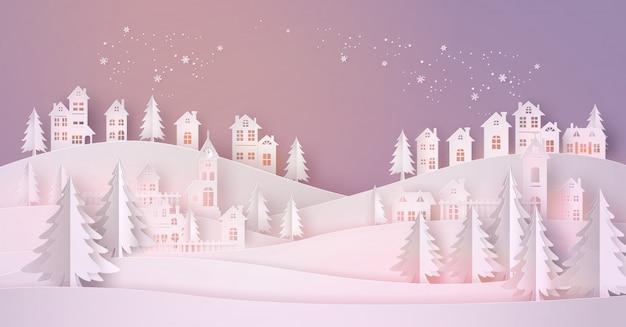 Winter snow urban countryside krajobraz miasto wieś