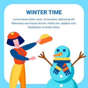 Winter time greeting flat card w karcie cartoon