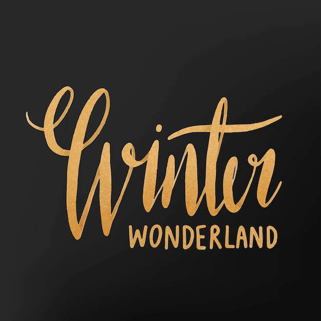 Winter wonderland akwarela typografia wektor