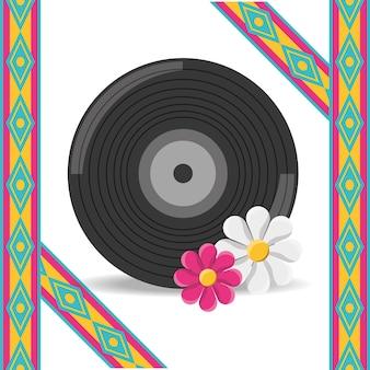 Winylu i kwiat hipis koncepcji