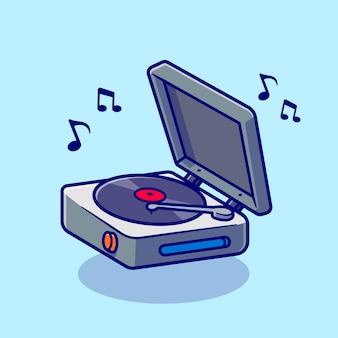 Winylu odtwarzacz muzyczny kreskówka wektor ikona ilustracja. technologia muzyka ikona koncepcja białym tle premium wektor. płaski styl kreskówki