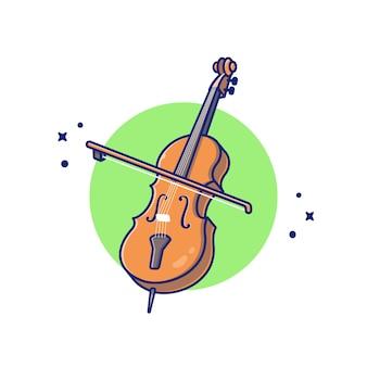 Wiolonczela skrzypce ilustracja kreskówka ikona. koncepcja ikona instrument muzyczny białym tle premium. płaski styl kreskówki