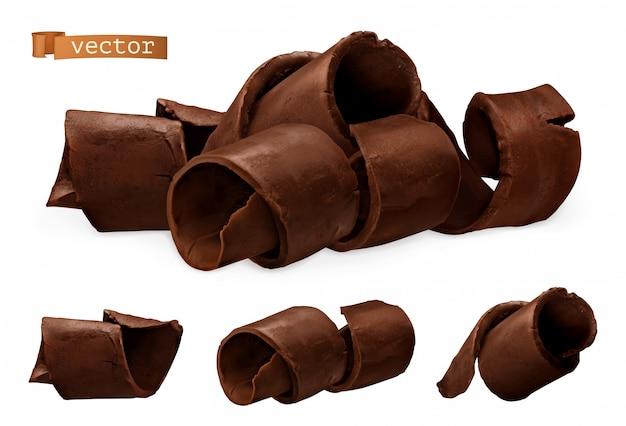 Wióry czekoladowe. 3d realistyczna ikona