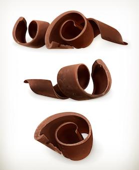 Wióry czekoladowe, czekoladki zwijają się, słodkie jedzenie, zestaw ikon na białym tle