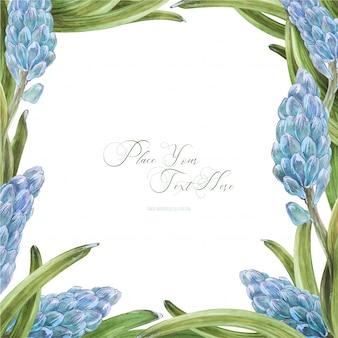 Wiosenna akwarela kwadratowa ramka z kwiatami hiacyntu