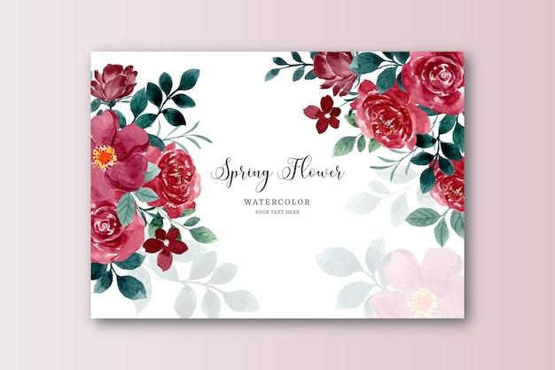 Wiosenna czerwona karta kwiatowa