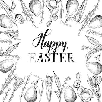 Wiosenna kartka wielkanocna z ręcznie rysowane monochromatyczne doodle pisanka, czekoladowy króliczek, konwalie, tulipan, przebiśnieg, krokus, wierzba. ręcznie wykonany napis - wesołych świąt