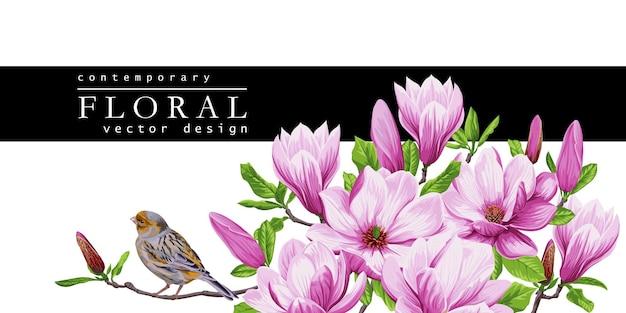 Wiosenna kartka z życzeniami z kwitnącymi kwiatami magnolii