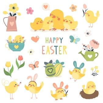Wiosenna kolekcja wielkanocna z uroczymi ptakami i kwiatami.