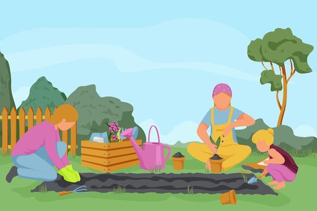 Wiosenna kompozycja ogrodnicza płaska z krajobrazem zewnętrznym i ludźmi w różnym wieku pielącymi rośliny uprawiające ziemię