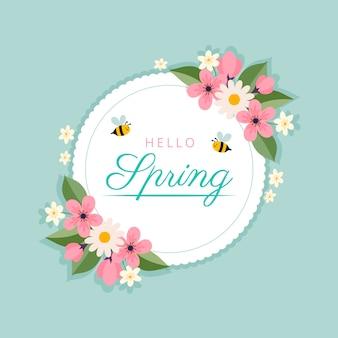 Wiosenna kwiecista rama z pszczołami