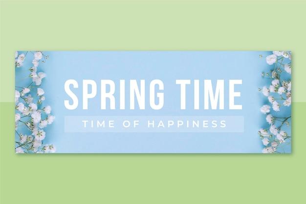 Wiosenna okładka na facebooku ze zdjęciami i tekstem