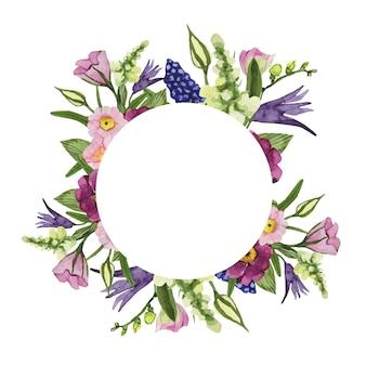 Wiosenna okrągła rama akwarela z kolorowych kwiatów