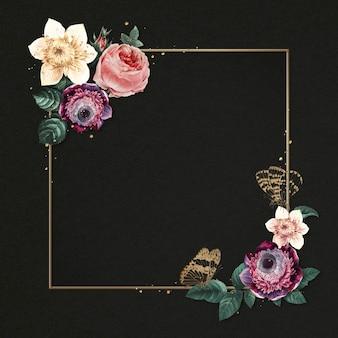 Wiosenna piwonia złota rama akwarela ilustracja