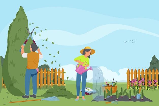 Wiosenna płaska kompozycja ogrodnicza z postaciami ogrodników pracujących w plenerowej scenerii ogrodowej z uprawą warzyw