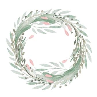 Wiosenna ramka kwiatowa ręcznie malowana clipartów zieleń, kwiaty, tulipany, wieniec