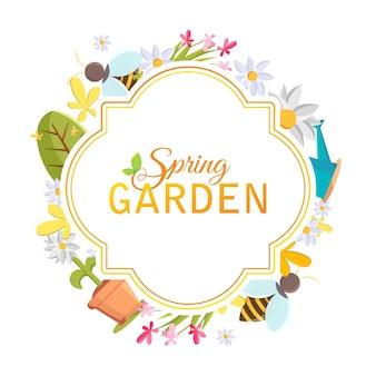 Wiosenna ramka ogrodowa z wizerunkami drzewa, doniczki, pszczoły, konewki, budki dla ptaków i wielu innych obiektów na białym tle