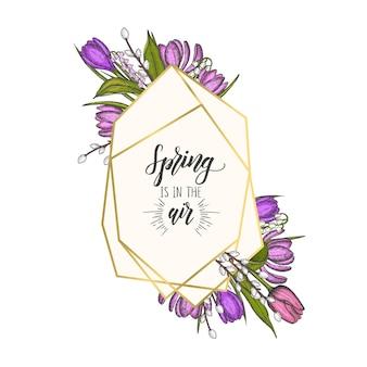 Wiosenna ramka ze złotym geometrycznym diamentem kształty i ręcznie rysowane kwiaty