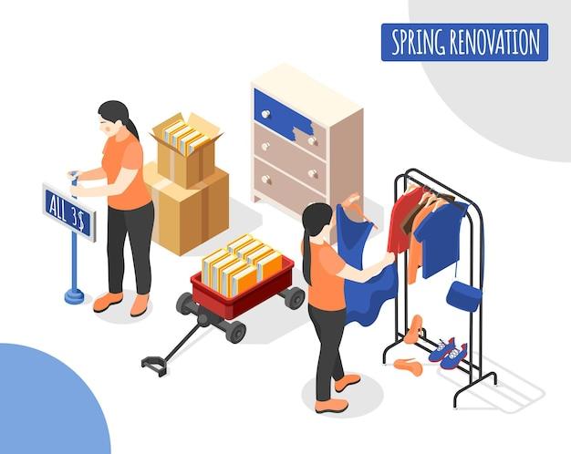 Wiosenna renowacja izometryczna ilustracja ze sprzedawczykami aktualizującymi nową kolekcję kobiecych ubrań w hali handlowej sklepu