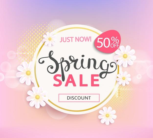 Wiosenna sprzedaż etykieta 50 procent zniżki.