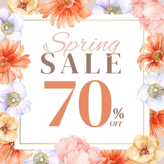 Wiosenna sprzedaż z ręcznie rysowaną dekoracją kwiatową