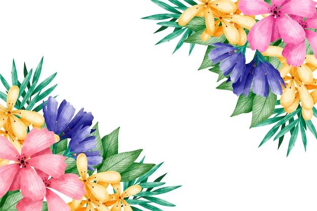 Wiosenna tapeta z kolorowymi kwiatami