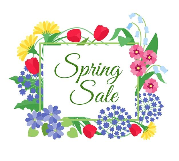 Wiosenna wyprzedaż kwiatów. dzień matki, promocyjny rabat 8 marca z wiosennymi kwiatami. kupon kwiatowy