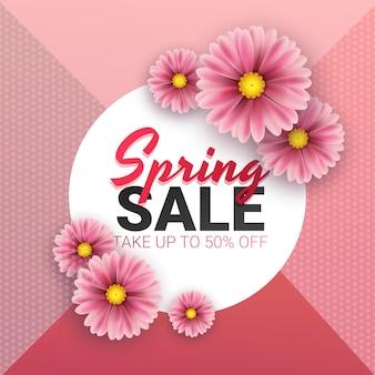 Wiosenna wyprzedaż kwiatowy plakat reklamowy, deska, baner z realistycznymi kwiatami, liść