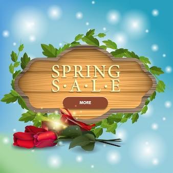 Wiosenna wyprzedaż nowoczesny transparent w formie deska drewniany z róż