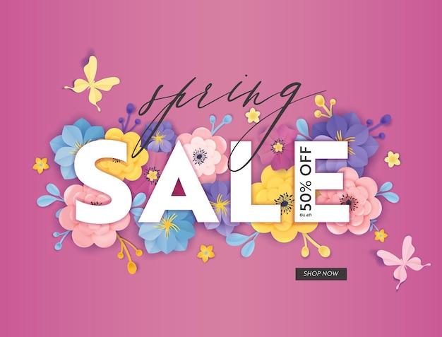 Wiosenna wyprzedaż oferta specjalna transparent z kwiatów ciętych z papieru. ulotka rabatowa z rabatem sezonowym kwiatowy wzór, broszura, kupon na zakupy. ilustracja wektorowa