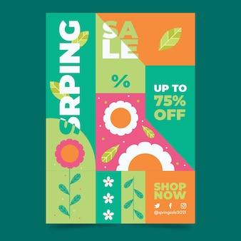 Wiosenna wyprzedaż pionowy szablon plakatu