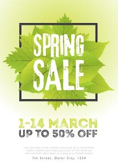 Wiosenna wyprzedaż plakat szablon z liści i ramki w zielonym białym tle. ilustracja wektorowa.