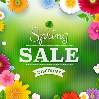 Wiosenna Wyprzedaż Plakat Premium Wektorów