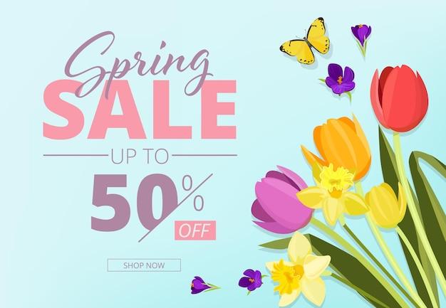 Wiosenna wyprzedaż. reklamujący baner tła z abstrakcyjnymi kształtami geometrycznymi i kuponem do przechowywania kwiatów.