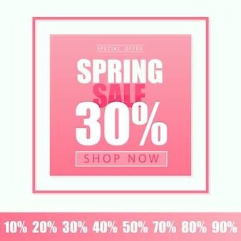 Wiosenna wyprzedaż szablon transparentu. ilustracja wektorowa w kolorze różowym - karta rabatowa