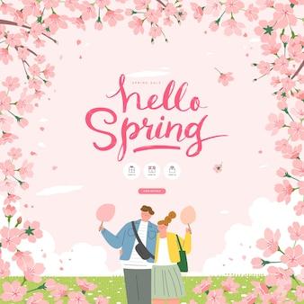 Wiosenna wyprzedaż szablon z pięknym kwiatem