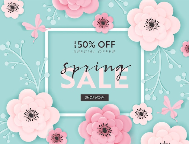 Wiosenna wyprzedaż transparent tło z kwiatów ciętych papieru i kwiatowymi elementami. wiosenny szablon kuponu rabatowego, broszura, plakat, promocja reklamowa. ilustracja wektorowa