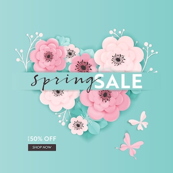 Wiosenna wyprzedaż transparent tło z kwiatów ciętych papieru. wiosenny szablon kuponu rabatowego, broszura, plakat, promocja reklamowa. ilustracja wektorowa